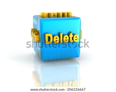 gold computer key Delete on reflective blue cube  - stock photo