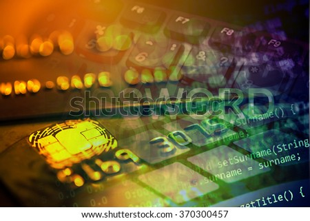 Gold credit card and program code. Finance security concept. - stock photo