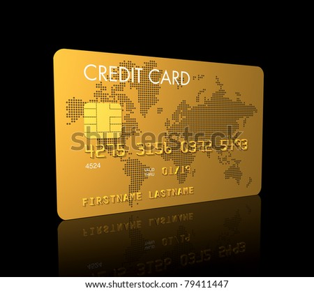 Gold credit card, 3D render isolated on black - stock photo