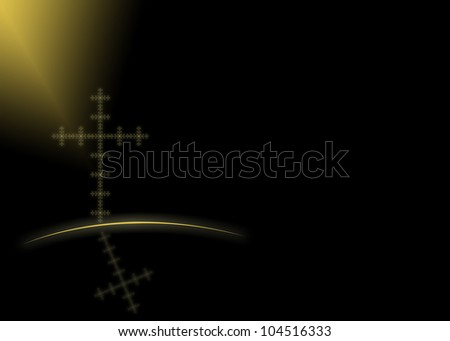 Gold cross and reflection on black background - stock photo