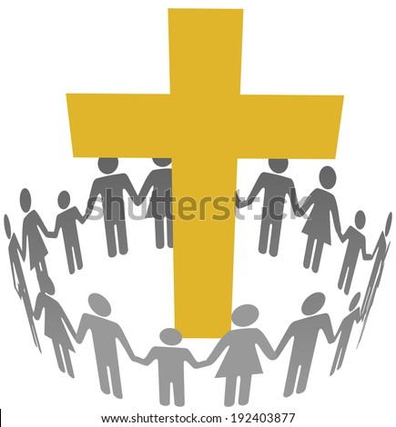 Gold cross inside a community or congregation circle of families - stock photo
