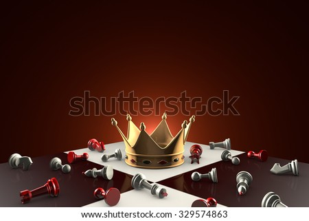 Gold crown on the chessboard. Many small chess. Dark red artistic background. - stock photo