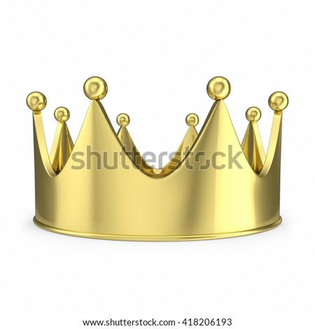 Gold crown with glow isolated on white background. 3d illustration - stock photo