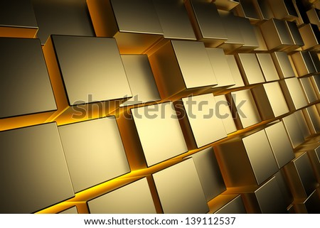 Gold cubes with back light, abstract background, 3d render - stock photo