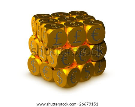 Gold cubes with currency symbols - stock photo