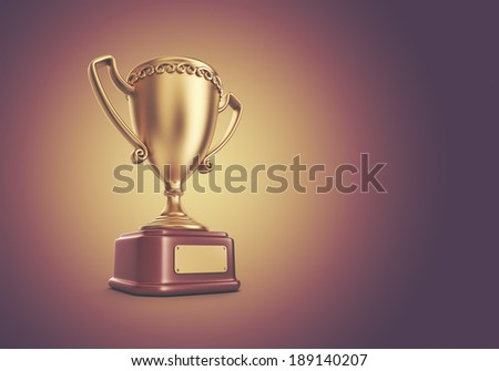 Gold cup winner trophy. 3D Background  - stock photo