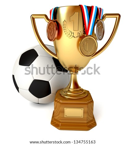Gold Cup with medals and soccer ball. Conceptual illustration. Isolated on white background. 3d render - stock photo