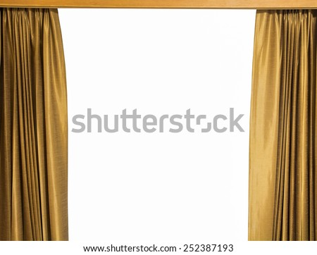 gold curtains on a white background - stock photo
