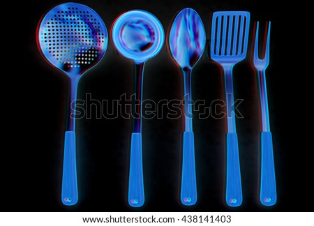 Gold cutlery on a black background. 3D illustration. Anaglyph. View with red/cyan glasses to see in 3D. - stock photo