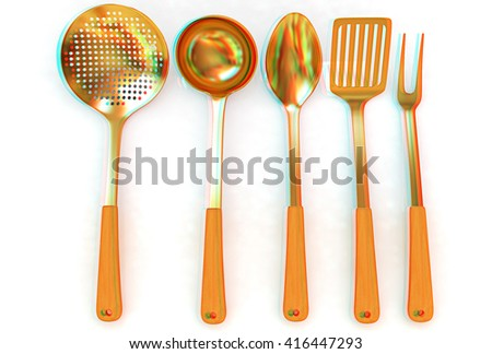Gold cutlery on a white background . 3D illustration. Anaglyph. View with red/cyan glasses to see in 3D. - stock photo