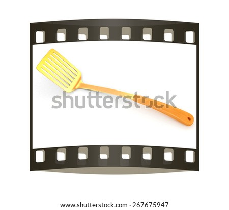 gold cutlery on white background. The film strip - stock photo