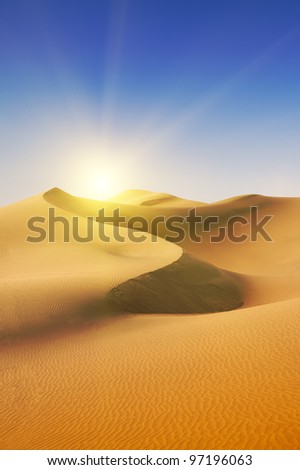 Gold desert at sea beach. Sunny day. Canary Islands, Canaries. Grand Canary. Maspalomas, Resort Town. - stock photo