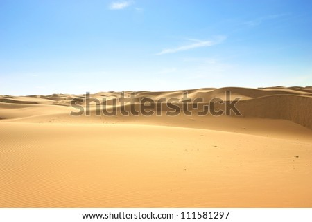 Gold desert in sunset. Canary Islands, Canaries. Grand Canary. Maspalomas, Resort Town. - stock photo