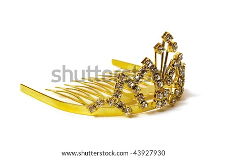 Gold diadem with gems isolated on white - stock photo