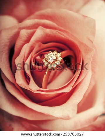 gold diamond engagement ring in beautiful rose flower, macro view - stock photo
