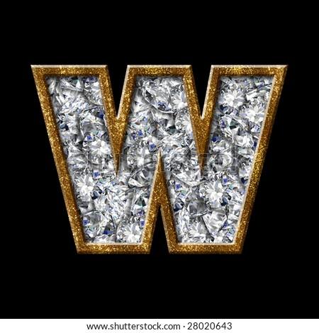 gold diamond font letter - stock photo