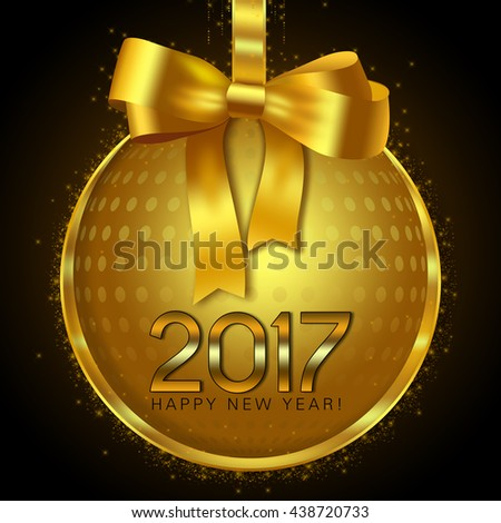 Gold disco ball bauble on a black background with New year wishes - stock photo