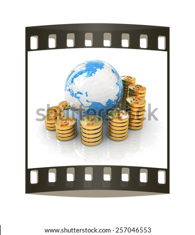 Gold dollar coin stack around the Earth isolated on white. The film strip - stock photo