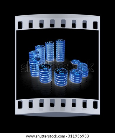 Gold dollar coin stack isolated on black. The film strip - stock photo