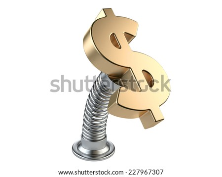 Gold dollar currency symbol on a spring.  Success in business concept. 3d render illustratio - stock photo