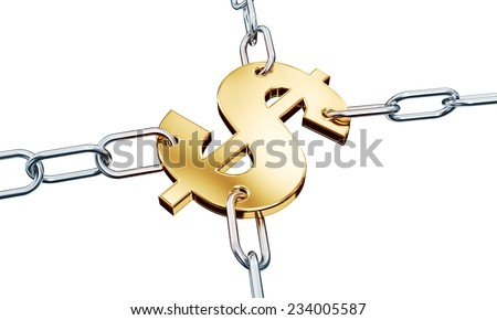 Gold dollar in chains - stock photo