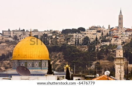 Gold dome of a mosque on temple mountain - stock photo