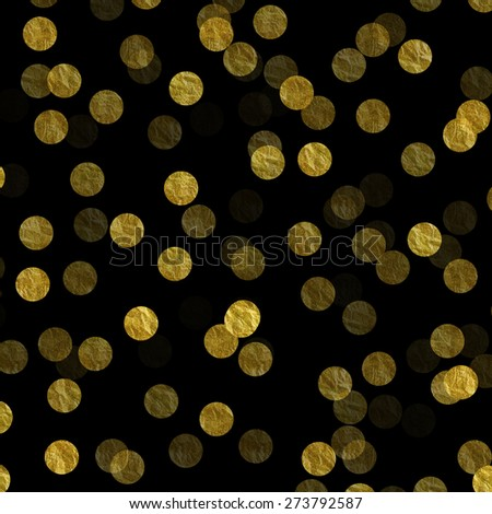 Gold Dots on Black Faux Foil Metallic Background Pattern - stock photo