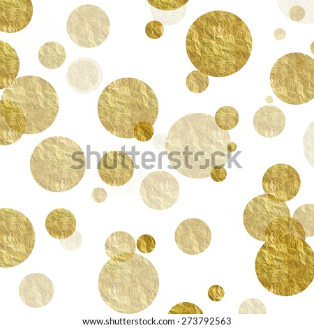 Gold Dots on White Faux Foil Metallic Background Pattern - stock photo