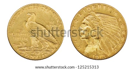 gold eagle two and a half dollar 1913 US coin with indian head isolated on white background - stock photo