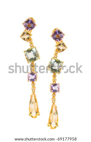 gold earring with gems isolated on a white - stock photo