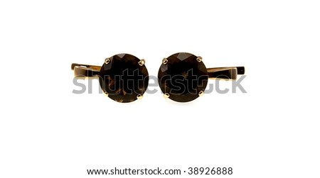 Gold earrings with brown topazes isolated on a white background - stock photo