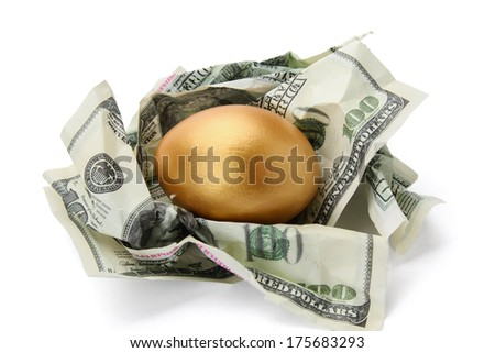 Gold egg and money - stock photo