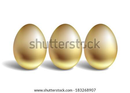 Gold Egg Concept. Unique golden eggs - stock photo