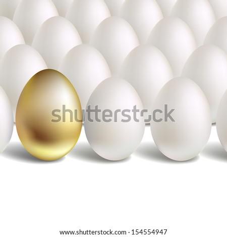 Gold Egg Concept. White and unique golden eggs  - stock photo