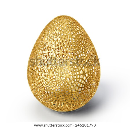 gold egg isolated on a white. 3d illustration - stock photo