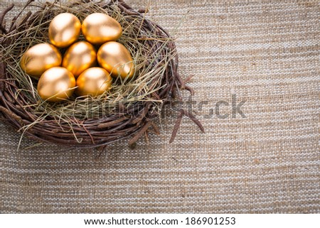 Gold eggs in nest from hay close-up - stock photo