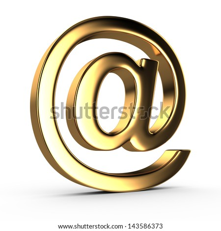 Gold email symbol , isolated on white - stock photo