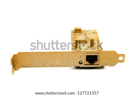 gold ethernet card - stock photo