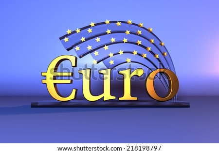 Gold Euro text - currency sign, stars on blue background - stock photo