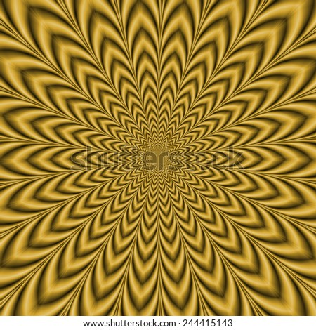 Gold Explosion / An optically challenging fractal image with an exploding geometric design in gold. - stock photo
