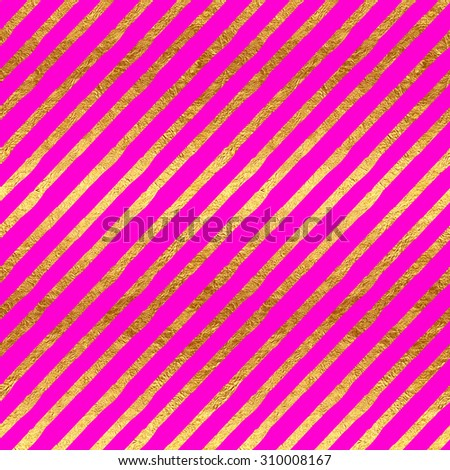 Gold Faux Foil Metallic Stripes Hot Pink Magenta Background Pattern Texture - stock photo