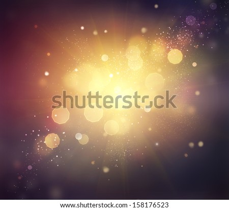 Gold Festive Christmas Background. Golden Abstract Holiday Backdrop with Lights and Stars. Bokeh  - stock photo