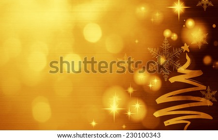 Gold Festive Christmas background with Christmas tree. Elegant abstract background with bokeh defocused lights and stars - stock photo