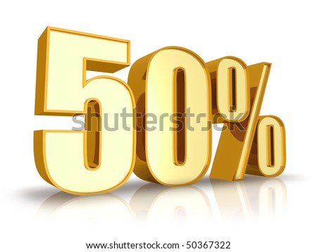 Gold fifty percent, isolated on white background. 50% - stock photo