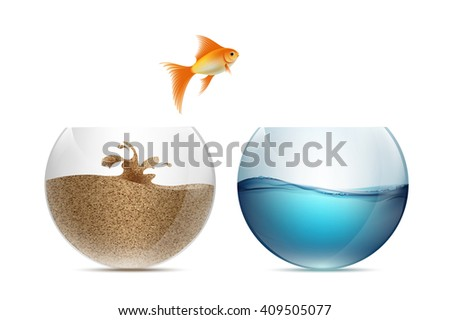 Gold fish jumping out of the aquarium. Aquariums with sand and water. Stock illustration. - stock photo