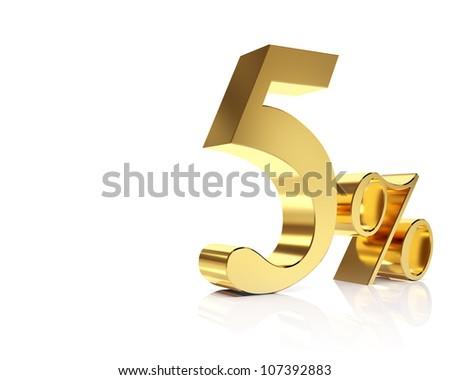 Gold five percent discount symbol - stock photo