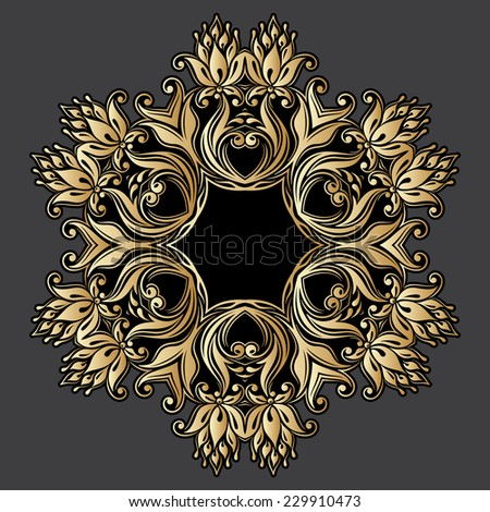 Gold floral round ornament for print, embroidery. Raster version. - stock photo