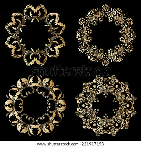 Gold floral round ornaments on black background. Raster version. - stock photo