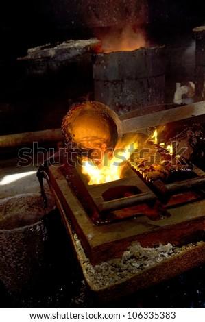 gold founding - stock photo
