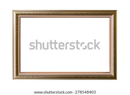 Gold frame Elegant vintage Isolated on white background. - stock photo
